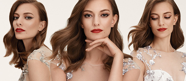 Three different close ups of a model wearing Dazzling Glamour bridal makeup look from Mary Kay.