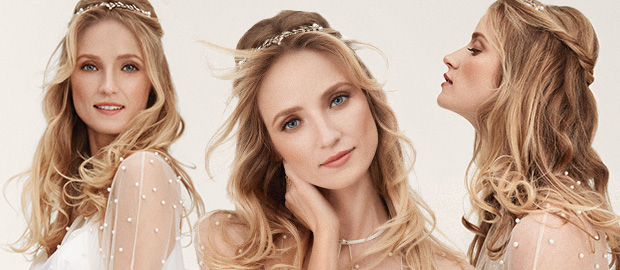 Three different close ups of a model wearing Sheer Romance bridal makeup look from Mary Kay.