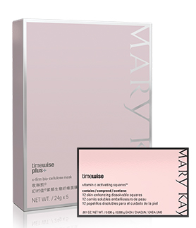 TimeWise Repair Lifting Bio-Cellulose Mask and TimeWise Vitamin C Activating Squares standing against a white background.