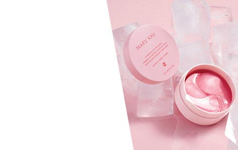 Mary Kay® Hydrogel Eye Patches in jar surrounded by ice cubes