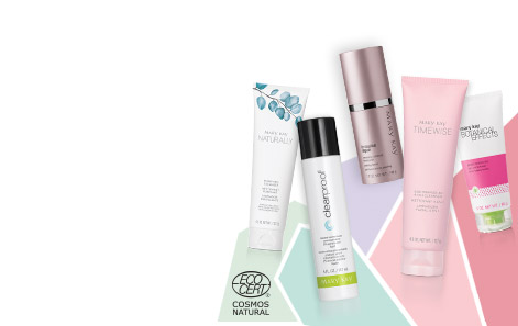 Mary Kay® skin care products from each product line set against a multicolored background