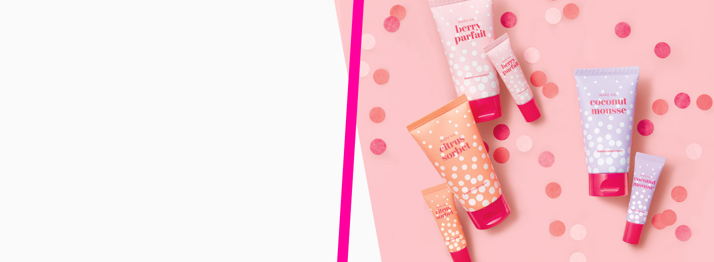 Limited-edition Mary Kay® Hand Cream and Lip Balm Sets styled on a fun background